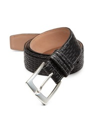 Hickey Freeman Woven Leather Belt Black