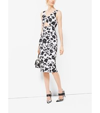 Floral Silk And Cotton Matelasse Cutout Sheath Dress