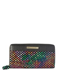 Braccialini Katia Zip Around Leather Wallet Black Multi