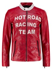 Freaky Nation Leather Jacket Red White