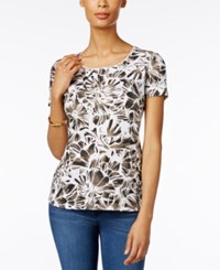 Karen Scott Floral Print T Shirt Only At Macy's Brown Clay
