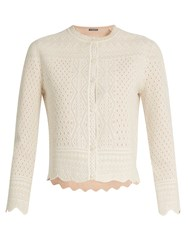 Alexander Mcqueen Lace Jacquard Cropped Cardigan Ivory