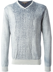 Roberto Cavalli Crocodile Effect Knitted Sweater Blue