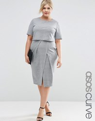 Asos Curve Wiggle Dress In Stripe With Double Layer Stripe Multi