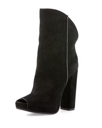 Cnc Costume National Peep Toe Suede Ankle Boot Black