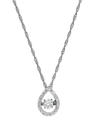 Twinkling Diamond Star Diamond Open Teardrop Pendant Necklace In 10K White Gold 1 4 Ct. T.W.