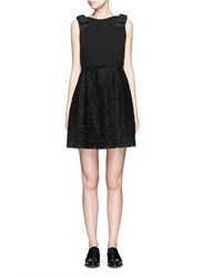 Valentino Bow Detail Open Back Guipure Lace Dress Black