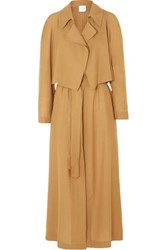 Agnona Wool And Cashmere Blend Trench Coat Brown