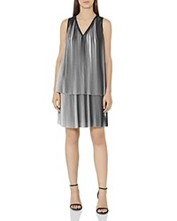Reiss Nova Pleated Dress Off White Black