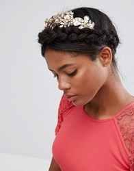 Asos Premium Occasion Jewel And Leaf Vine Headband Gold