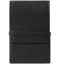 Valextra Pebble Grain Leather Business Cardholder Black