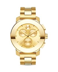 Movado Bold Yellow Gold Ion Plated Chronograph With Sunray Dial 38Mm