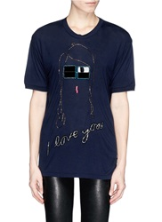Lanvin 'I Love You' Acetate Bead Embroidery T Shirt Blue