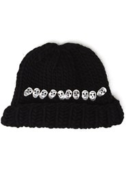 Wool And The Gang Knitted Skull Beanie Hat Black