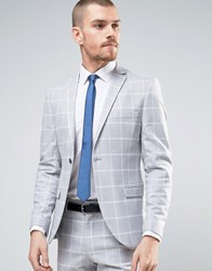 Selected Homme Super Skinny Suit Jacket In Check Grey