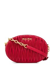 Miu Miu Quilted Logo Crossbody Bag Red