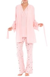 Olian Women's 'Anne' Maternity Pajamas And Robe With Coordinating Pillowcase Pink