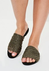 Missguided Gold Rope Flat Mule Sandals Black