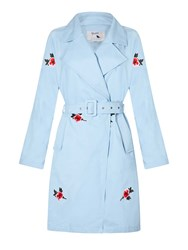 Yumi Trench Coat With Embroidered Flowers Pale Blue