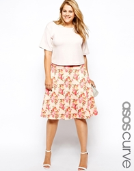 Asos Curve Exclusive Midi Skirt In Textured Floral Multi