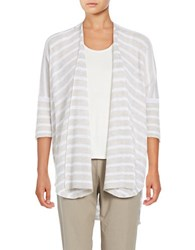 Eileen Fisher Striped Open Front Cardigan Natural
