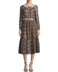 Michael Kors Long Sleeve Snake Print Peasant Dress Taupe Brown