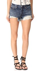 Free People Daisy Chain Lace Shorts Dark Denim