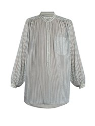 Etoile Isabel Marant Jana Striped Cotton Gauze Shirt Blue White