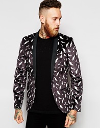 Religion X Noose And Monkey Velvet Blazer With All Over Feather Print In Skinny Fit Black