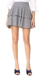 Wayf Rayan Tiered Skirt Black White Gingham