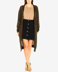 City Chic Plus Size Open Knit Duster Cardigan Olive