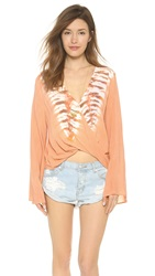 Blue Life Hayley Long Sleeve Top Coral Reef Tie Dye