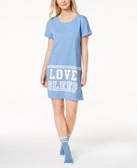 By Jennifer Moore Graphic Print Sleepshirt With Socks Created For Macy's Delft