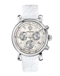 Versace 38Mm Day Glam Chronograph Watch W Leather Strap Silver White