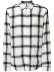 Attachment Checked Style Shirt White