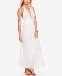 Denim And Supply Ralph Lauren Lace Trim Gauze Halter Dress White