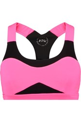 Athletic Propulsion Labs Neon Mesh And Stretch Knit Sports Bra Pink