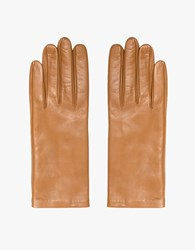 Italian Leather Glove In Beige