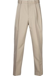 H Beauty And Youth. Pleated Cropped Trousers Brown