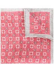 Eleventy Printed Linen Scarf Red