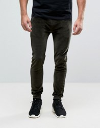 Asos Super Skinny Velour Joggers In Khaki Hunter Green