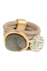 Saachi Bethany Nude Leather Ring Brown