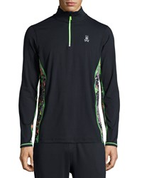 Psycho Bunny Quarter Zip Performance Jacket Black
