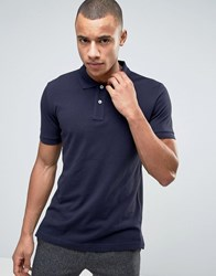 Esprit Slim Fit Basic Pique Polo Shirt In Navy Navy