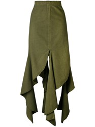 J.W.Anderson Frayed Hem Skirt Women Cotton 8 Green