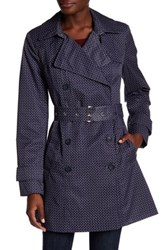 Tommy Hilfiger Belted Printed Trench Coat Blue