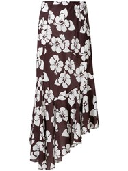 Simonetta Ravizza Tea Floral Print Asymmetric Skirt Brown