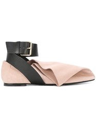 Msgm Ankle Strap Witch Point Pumps Women Leather Suede 37 Nude Neutrals