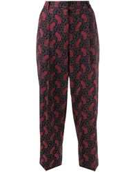 Ymc Paisley Cropped Trousers Blue