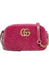 Gucci Gg Marmont Camera Mini Leather Trimmed Quilted Velvet Shoulder Bag Pink